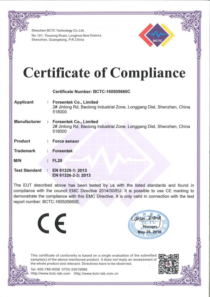 load cell certificate