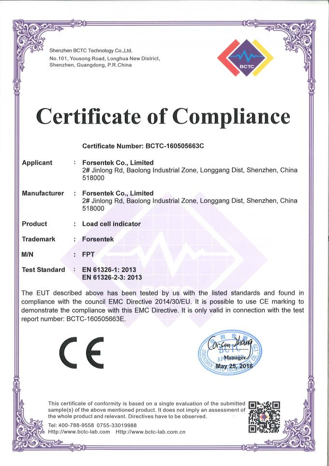 load cell indicator certificate