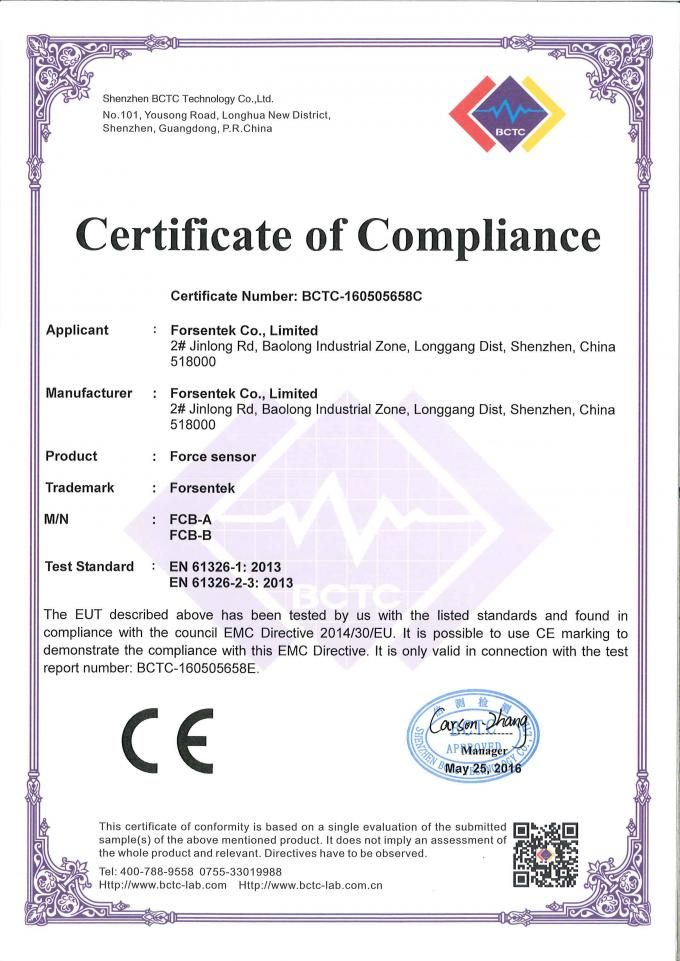 compression load cell certificate